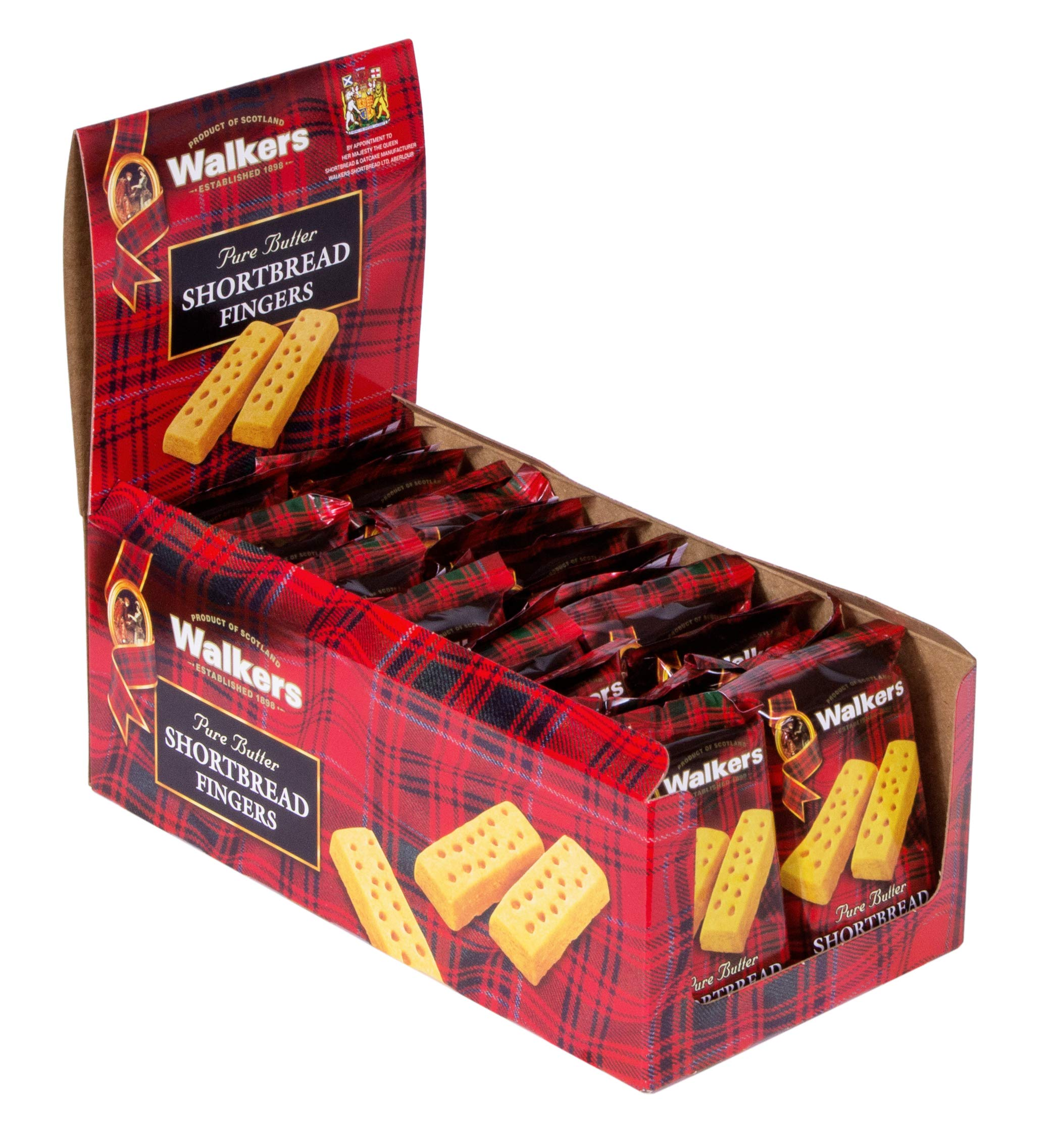 Walkers Shortbread Fingers, Traditional Butter Shortbread Cookies, 2 Count (Pack of 24)