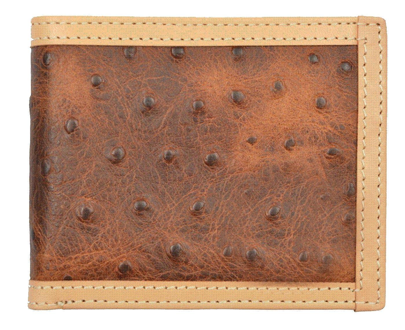 Custom Brown Ostrich Print Bi-Fold Wallet