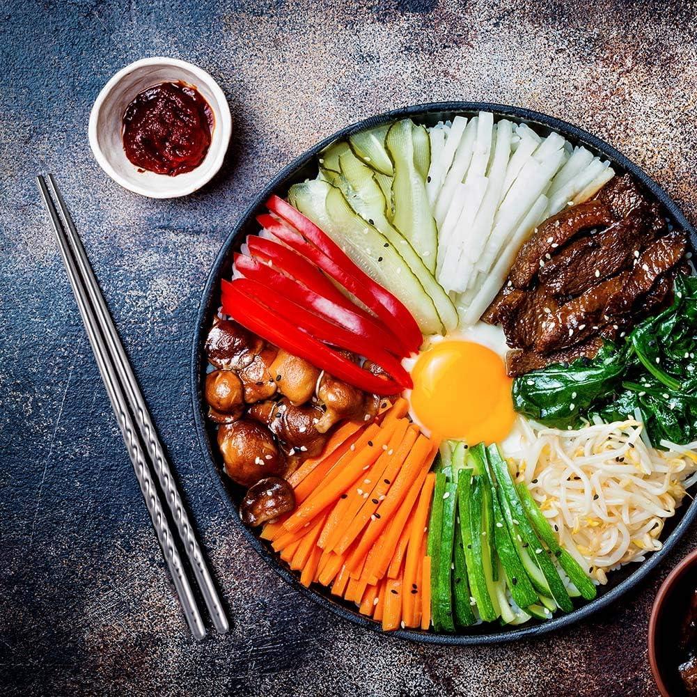 5 Paia per Sushi e Riso. lovingmona Bacchette riutilizzabili in Acciaio Inox
