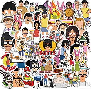 Cartoon Bob's Burgers Stickers for Water Bottles 50 Pcs Waterproof Cute Aesthetic Trendy Stickers for Teens Kids Girls and Boys, Perfect for Laptop Notebook Tablet Phone Car Travel (Bob's Burgers)