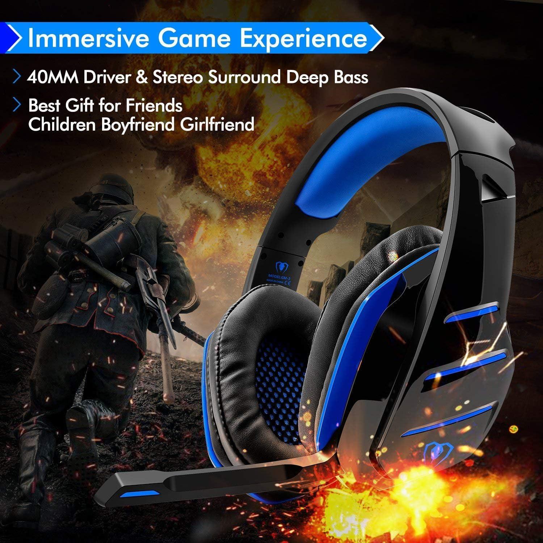Cuffie Gaming Super Confortevole con Microfono e Stereo Bass Blu Beexcellent GM-3 3.5mm