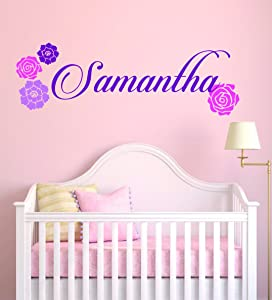 """Personalized Name Flowers - Baby Girl - Wall Decal Nursery for Home Bedroom Children(MM27) (Wide 22""""x 6"""" Height)"""