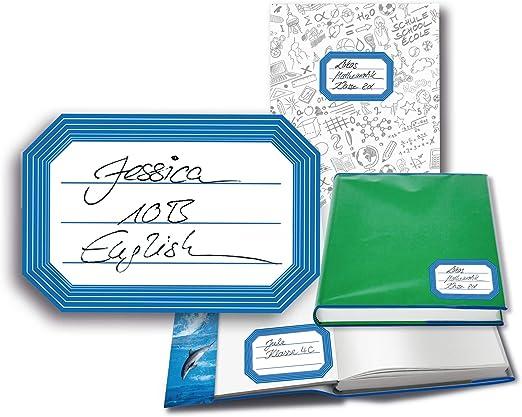 HERMA 15537 Etichette per libri con bordo blu 36 etichette per la scuola ragazze e ragazzi autoadesive neutre in carta per la scuola per bambini