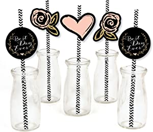 Big Dot of Happiness Best Day Ever Paper Straw Decor - Bridal Shower Striped Decorative Straws - Set of 24