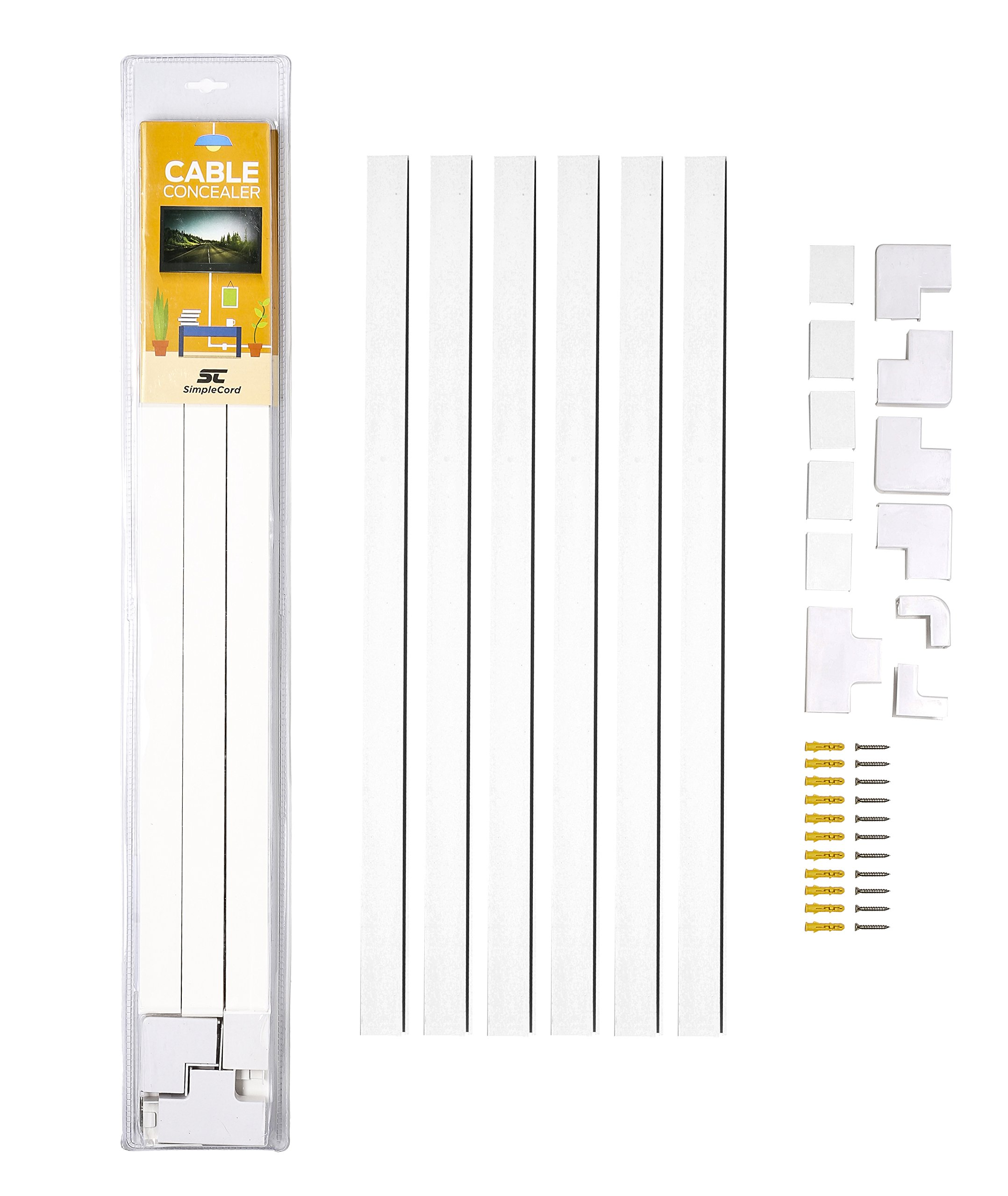 Cable Concealer On-Wall Cord Cover Raceway Kit - Cable Management System to Hide  Cables
