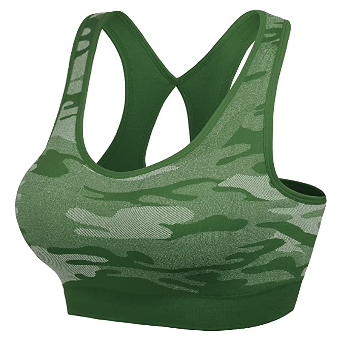 494f475479938 MIRITY Women Racerback Sports Bras - High Impact Workout Gym Activewear Bra  Color Army Size L at Amazon Women s Clothing store