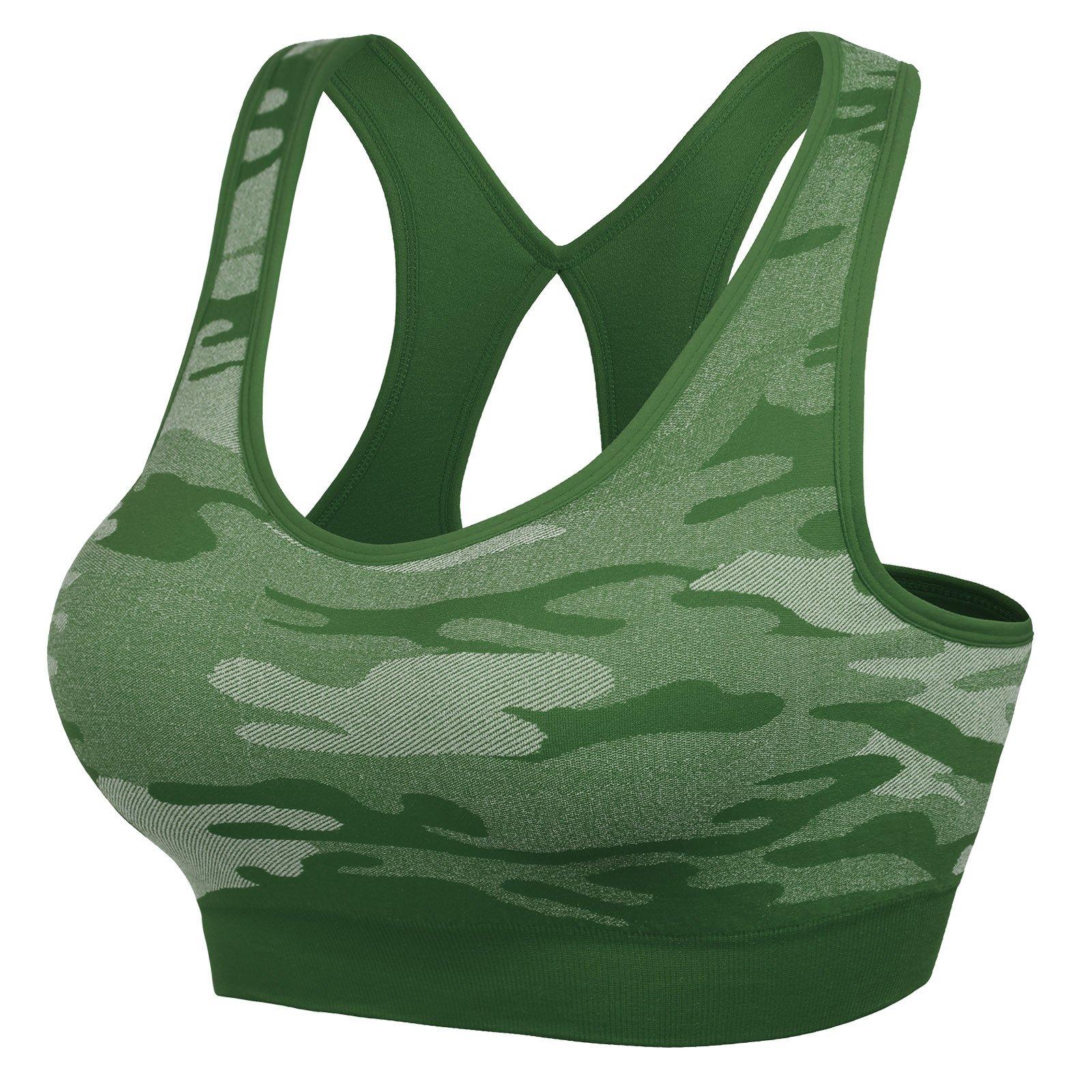 MIRITY Women Racerback Sports Bras - High Impact Workout Gym Activewear Bra Color Army Size L