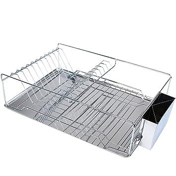 scolapiatti cucina scolapiatti con griglia e vassoio scolapiatti per piatti e posate in acciaio inox 47