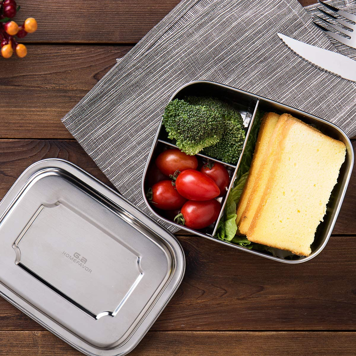 All Stainless 1000ML Metal Lunch Box for Kids or Adults- BPA-Free-Dishwasher Safe Stainless Lid G.a HOMEFAVOR Divided Stainless Steel Bento Lunch Box Containers with 3 Compartments Design