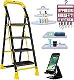 Trendy Cameo Special 4 Step Ladder Combo with Set of 3 Corner Shelves, Set of 2 Bathroom Shelves, Earring Holder, Mobile Stand