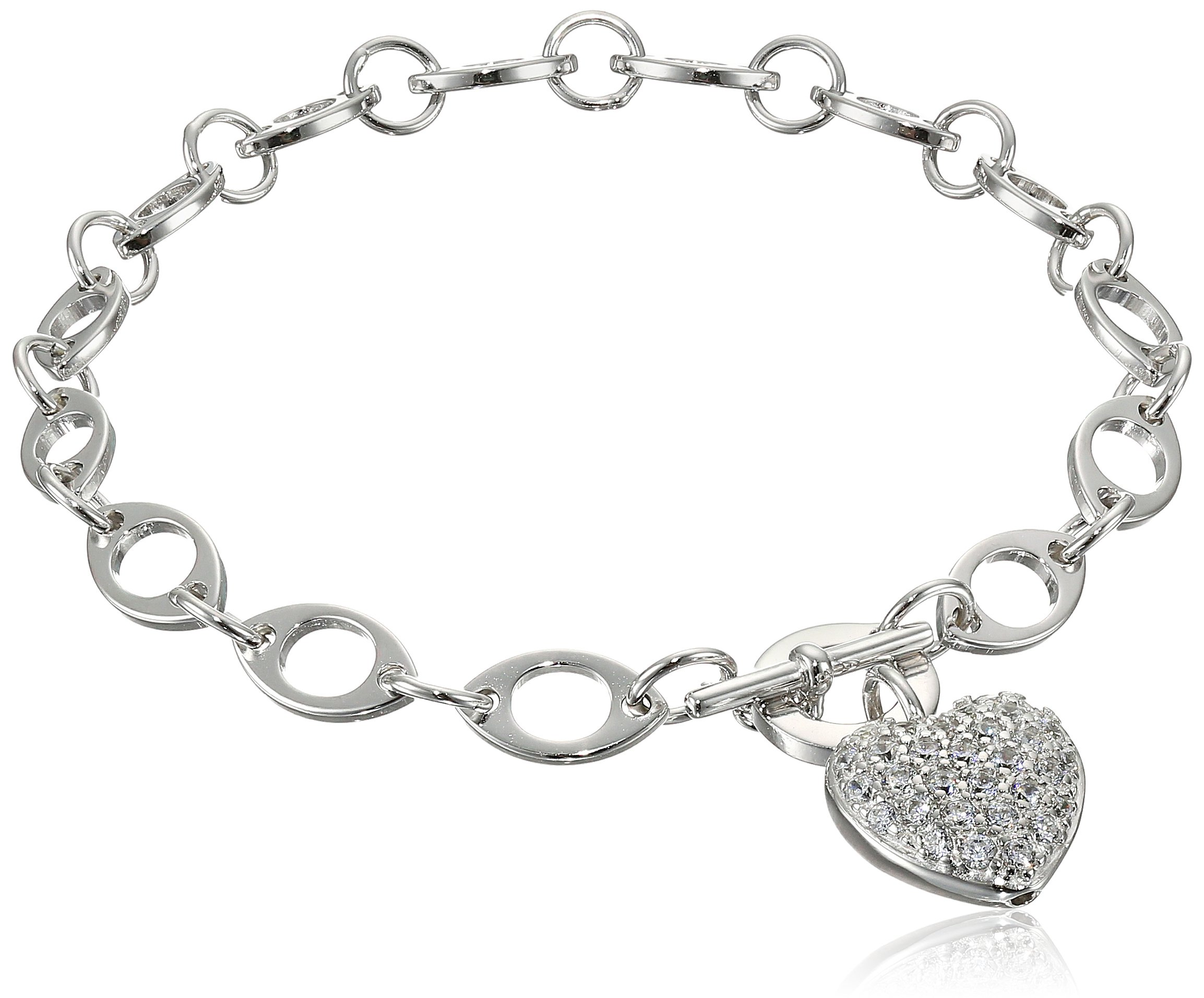 Sterling Silver Cubic Zirconia Pave Heart Charm Bracelet, 7.25''