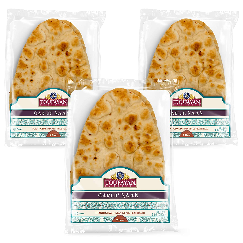 Toufayan Bakery, Garlic Naan Bread Flatbread, Traditional East Indian Pita Bread, Naturally Vegan, Cholesterol Free and Kosher (Garlic, 3 Pack)