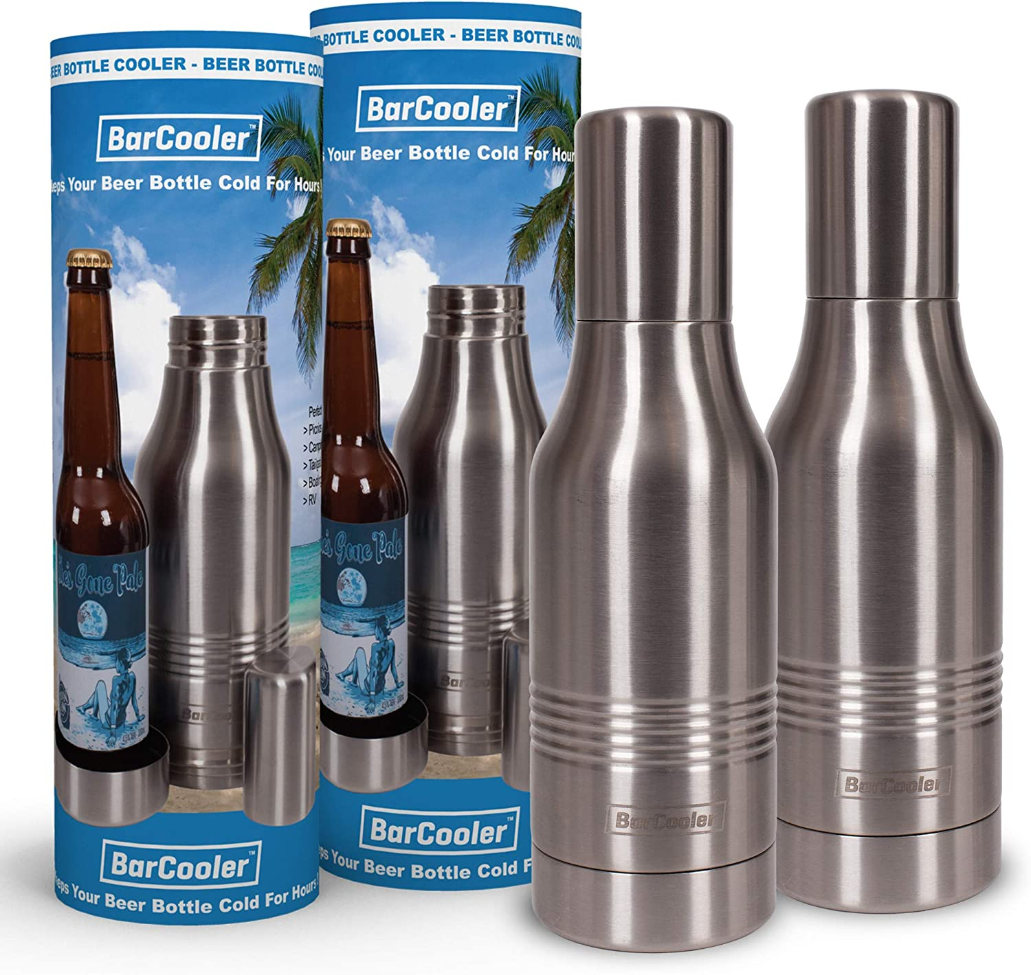 Beer Bottle Insulator - Double Wall Stainless Steel Beer Bottle Cooler. Great Gift. Includes bonus E-Book + Gift Box. Twin Pack.