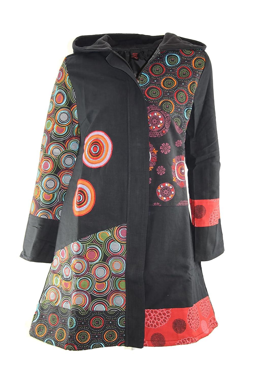 #4084 Aller Simplement Damen Mantel Jacke Patchwork Winter Trenchcoat Wintermantel Schwarz 36 38 40 42