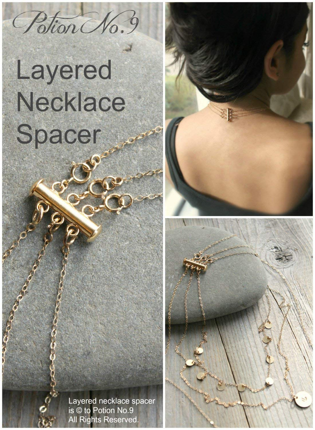f11fcc0210e9 Amazon.com: Layered necklace spacer clasp, gold, silver,Rose gold, no more  tangle, no more mess. Layering magic!: Handmade