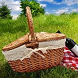KINGSO Wicker Willow Picnic Basket Shopping Storage Basket Shopping Hamper with Lid and Handle