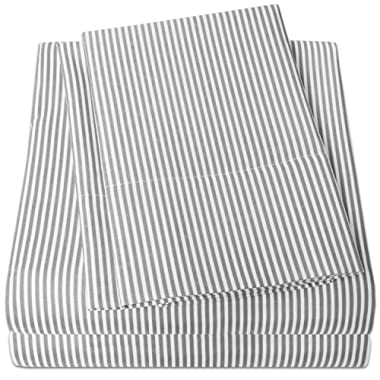 1500 Supreme Collection Bed Sheets - PREMIUM QUALITY 4-PIECE BED SHEET SET, SINCE 2012 - Deep Pocket Wrinkle Free Hypoallergenic Bedding - 4 Piece Set - Gray Stripe - King