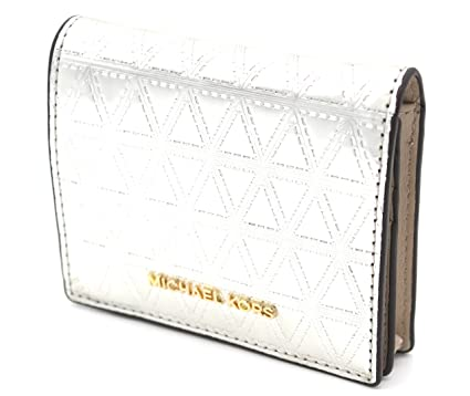 541674719539b Image Unavailable. Image not available for. Color  Michael Kors 32H7GF6F2K  Money Pieces Leather Metallic Flap Card Holder Champagne