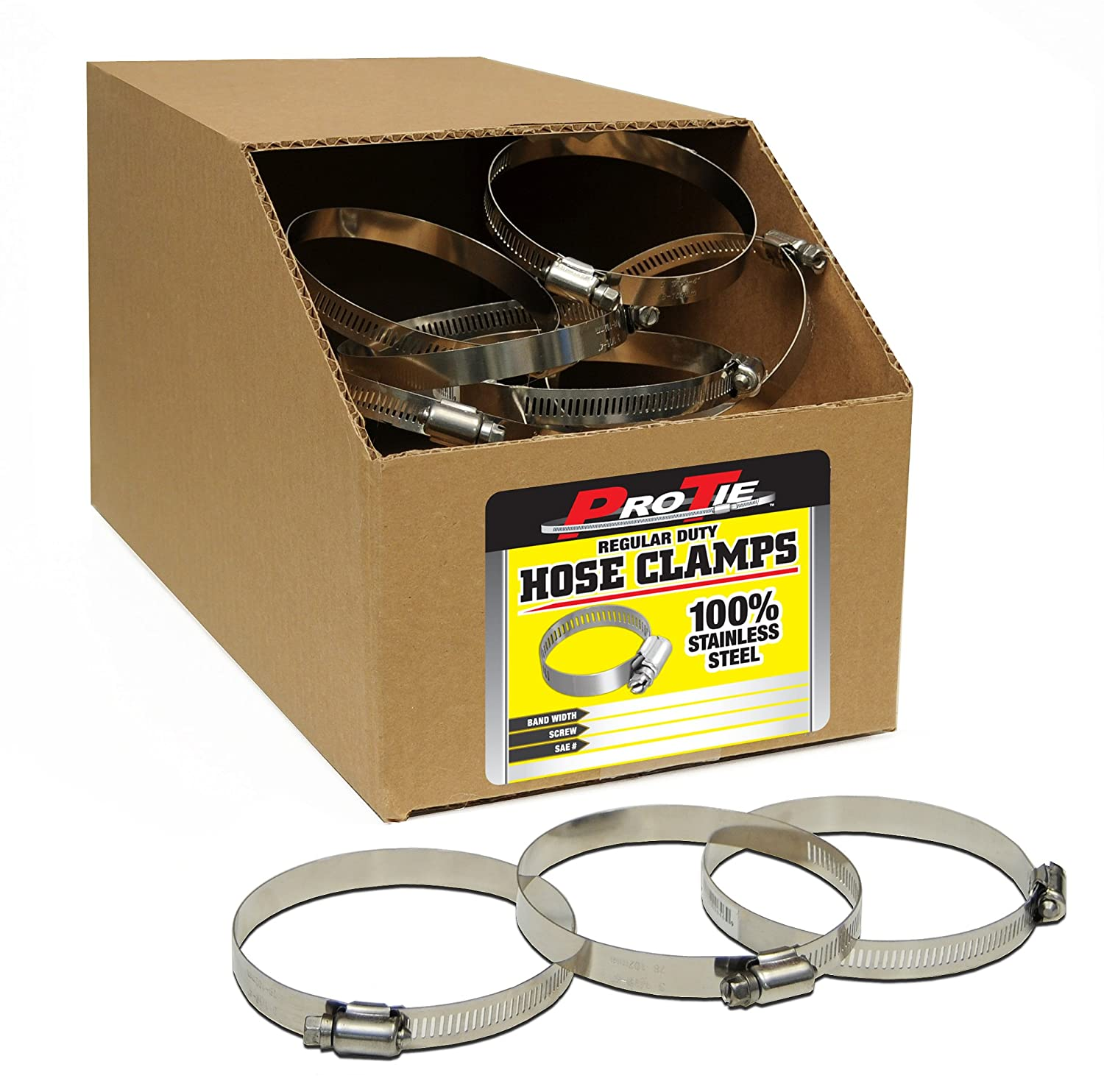 Range3-5//16-Inch-4-1//4-Inch SAE Size 60 Box of 130 Pro Tie 33835 Regular Duty All Stainless Bulk Hose Clamps
