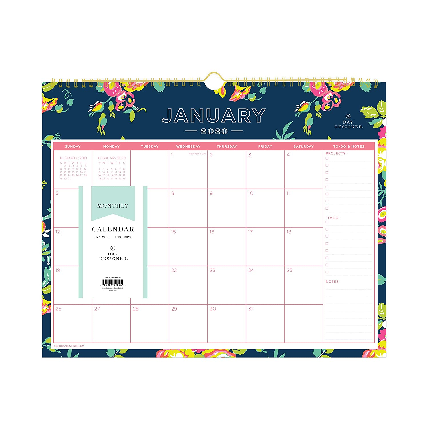 """Day Designer for Blue Sky 2020 Monthly Wall Calendar, Twin-Wire Binding, 15"""" x 12"""", Peyton Navy"""