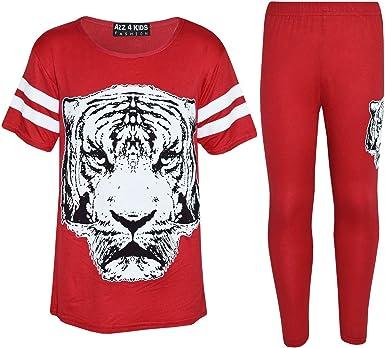 Girls Top Kids Tiger Face Print Baseball T Shirt /& Fashion Legging Set 7-13 Yr