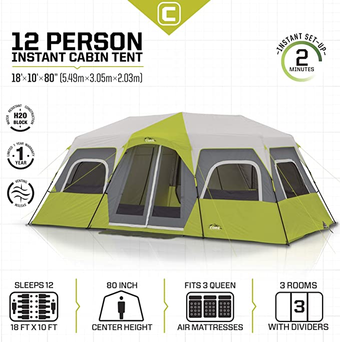 CORE 12 Person Instant Cabin Camping Tent