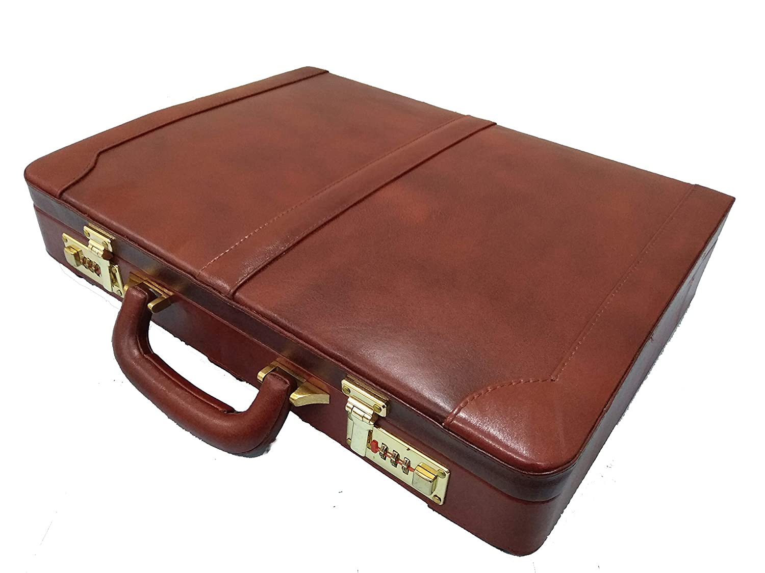 Zint Men's Genuine Leather Hard Briefcase Attache - Vintage Style