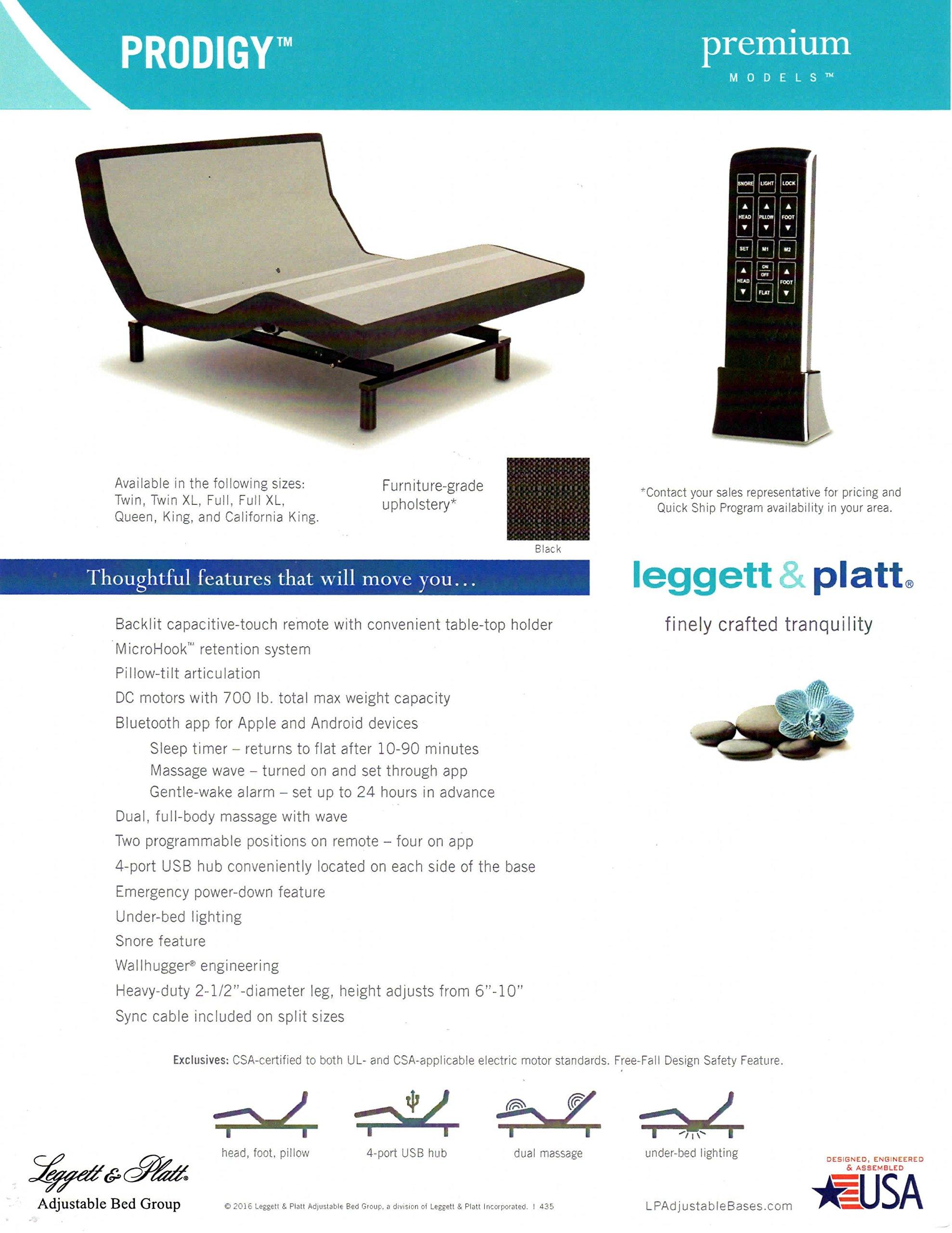 Prodigy 2.0 PRODIGY2-QN Leggett and Platt Adjustable Bed Base with Wireless Massage Bluetooth Head Tilt, Queen