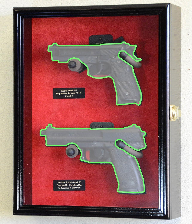 Double pistol handgun revolver gun display case cabinet rack shadowbox - Amazon Com Large Double 2 Pistol Handgun Revolver Gun Display Case Cabinet Rack Shadowbox Black Finish Black Background Sports Outdoors