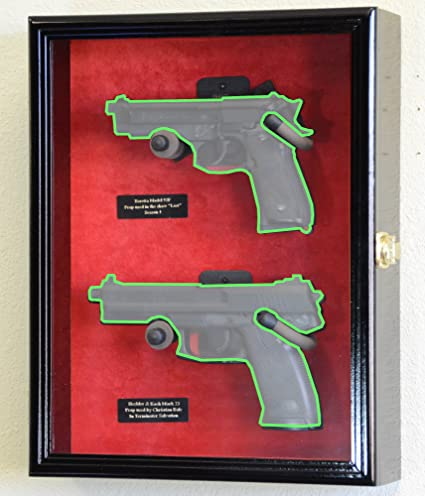Large/Double 2 Pistol Handgun Revolver Gun Display Case Cabinet Rack  Shadowbox (Black Finish