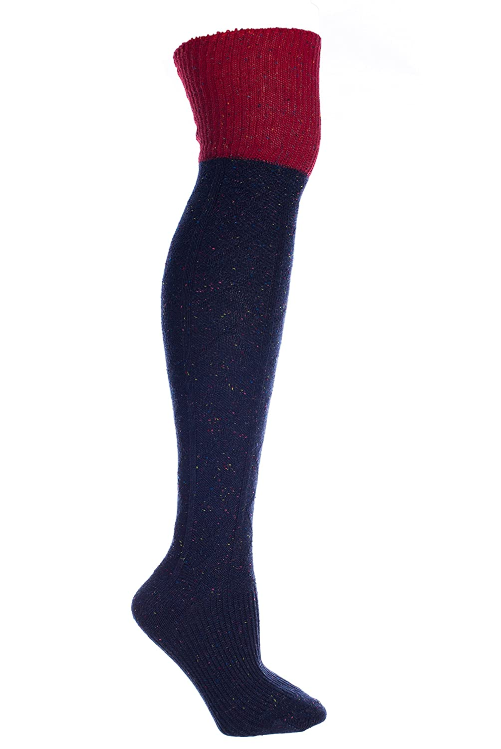 Wool Speckled Knee High Boot Socks with Welt