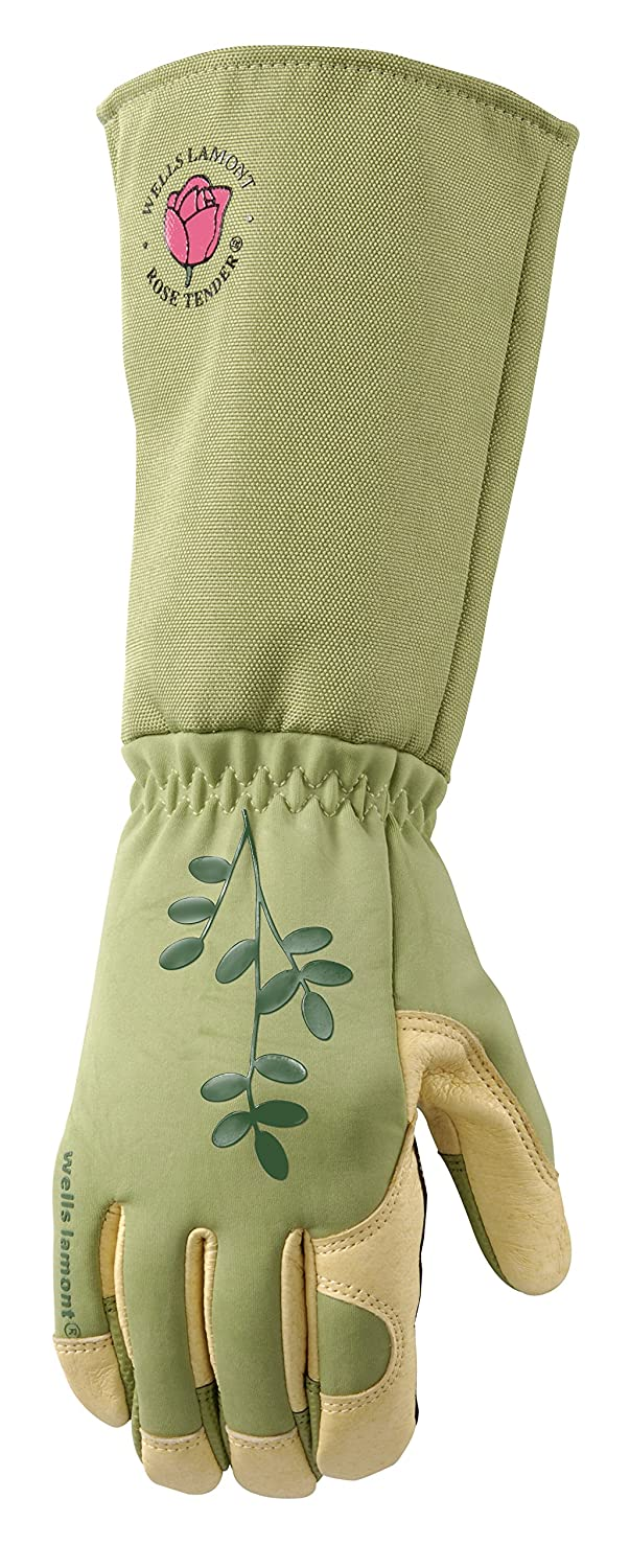 Wells Lamont 4127L Women'S Rosetender Leather Rose Gardening Gloves Foldable Gauntlet Cuff, Large, Green