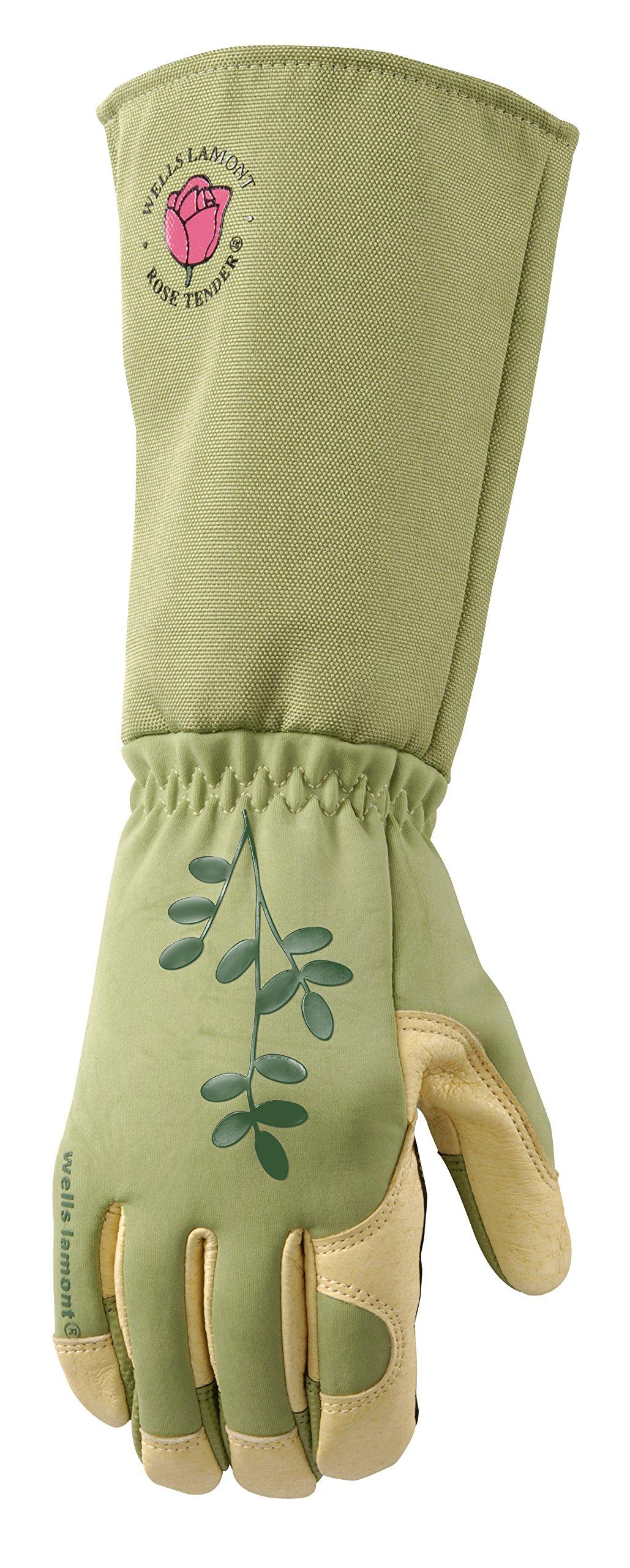 Womens Rosetender Leather Rose Gardening Gloves, Foldable -3571