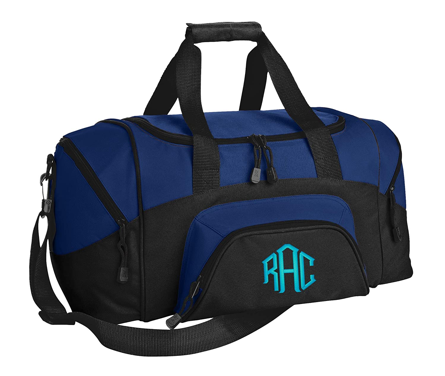 Personalized Monogrammed Small Gym Duffel Bag with Custom Text Sports Bag with Customizable Embroidered Monogram Design True Royal Black