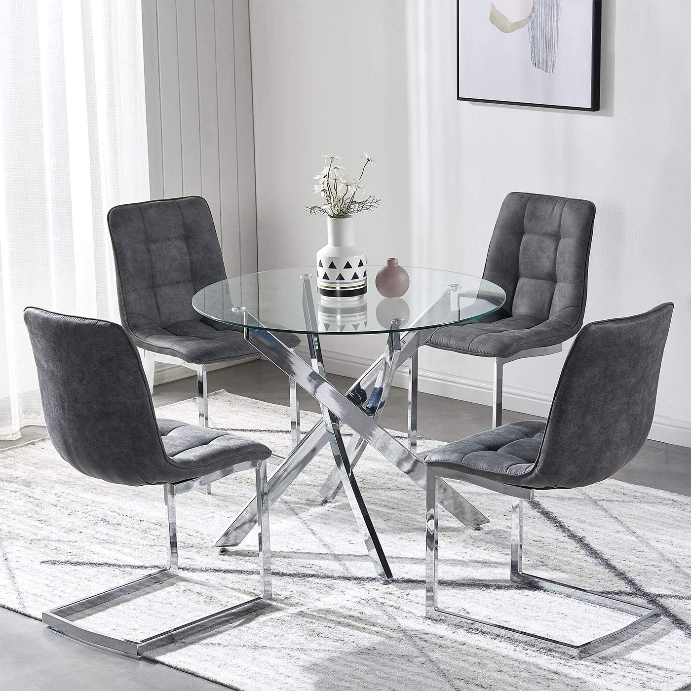 Tonvision Clear Glass Dining Table With 4 Chairs Sturdy Metal Legs Suede Upholstered Cushion 90cm Diameter Round Top 4 Seater Small Kitchen Dinner Living Coffee Room Charcoal Grey Chrome Base Amazon Co Uk Kitchen