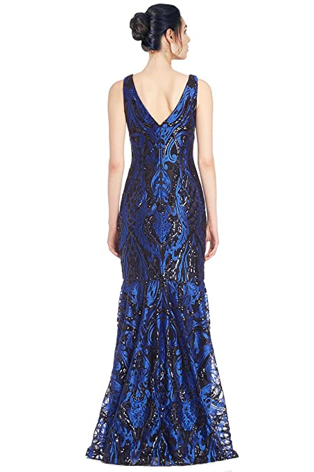 5d65ed38518c Amazon.com: David Meister Embroidered Sequin V-Neck Evening Gown Dress Blue/Black:  Clothing