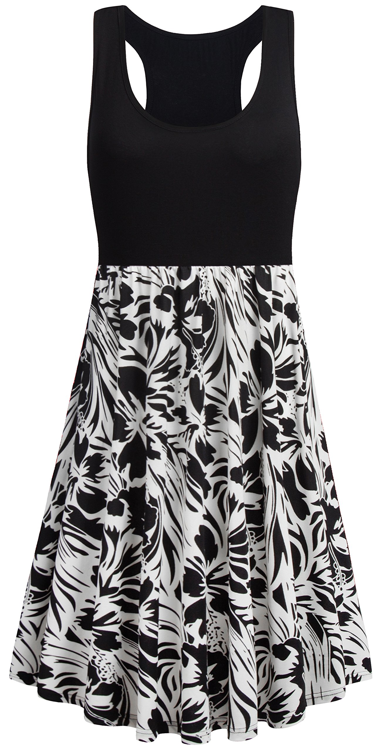 Nandashe Casual Dress with Pockets for Women, Teen Girls O Neck Boho Style Graphic Print Cool Thin Cold Shoulder Flattering Swing Tunic Midi Cami Dress Black White 1x Size 14