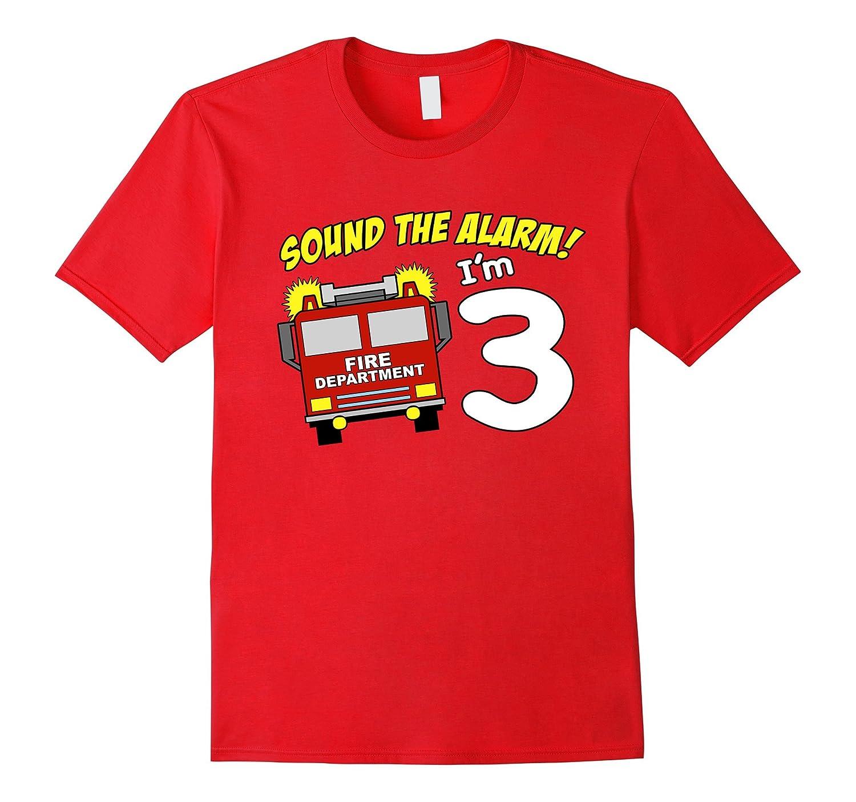 3rd Birthday Fire Truck T Shirt - 3 Year Old Fireman Tee-TH