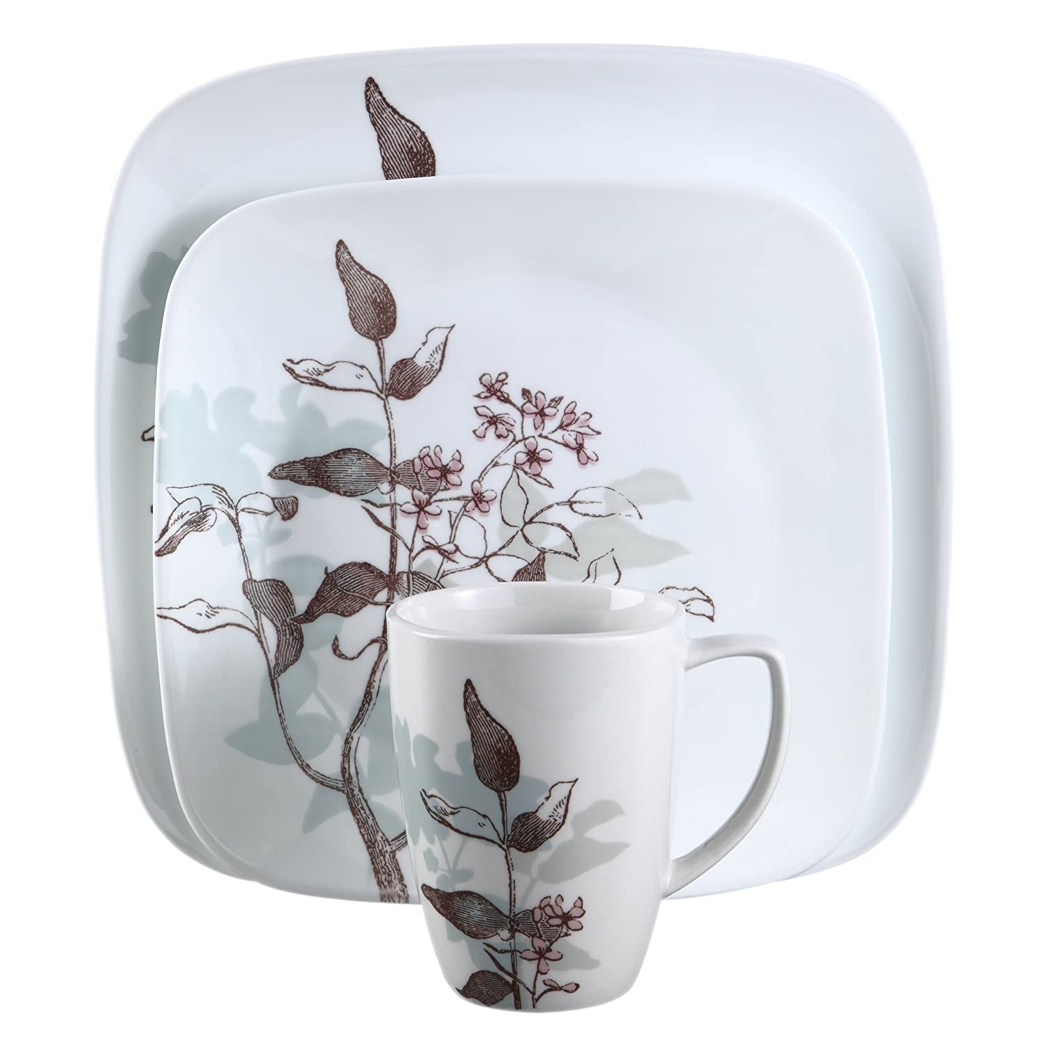 Amazon.com | Corelle Square 16-Piece Dinnerware Set Twilight Grove Service for 4 Dinnerware Sets Dinnerware Sets  sc 1 st  Amazon.com & Amazon.com | Corelle Square 16-Piece Dinnerware Set Twilight ...