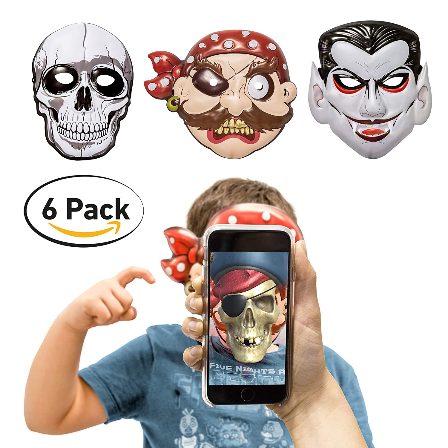 360 Party Lab Kids Boy Augmented Reality 6 Pack 2 Pirate 2 Vampire 2 Skull