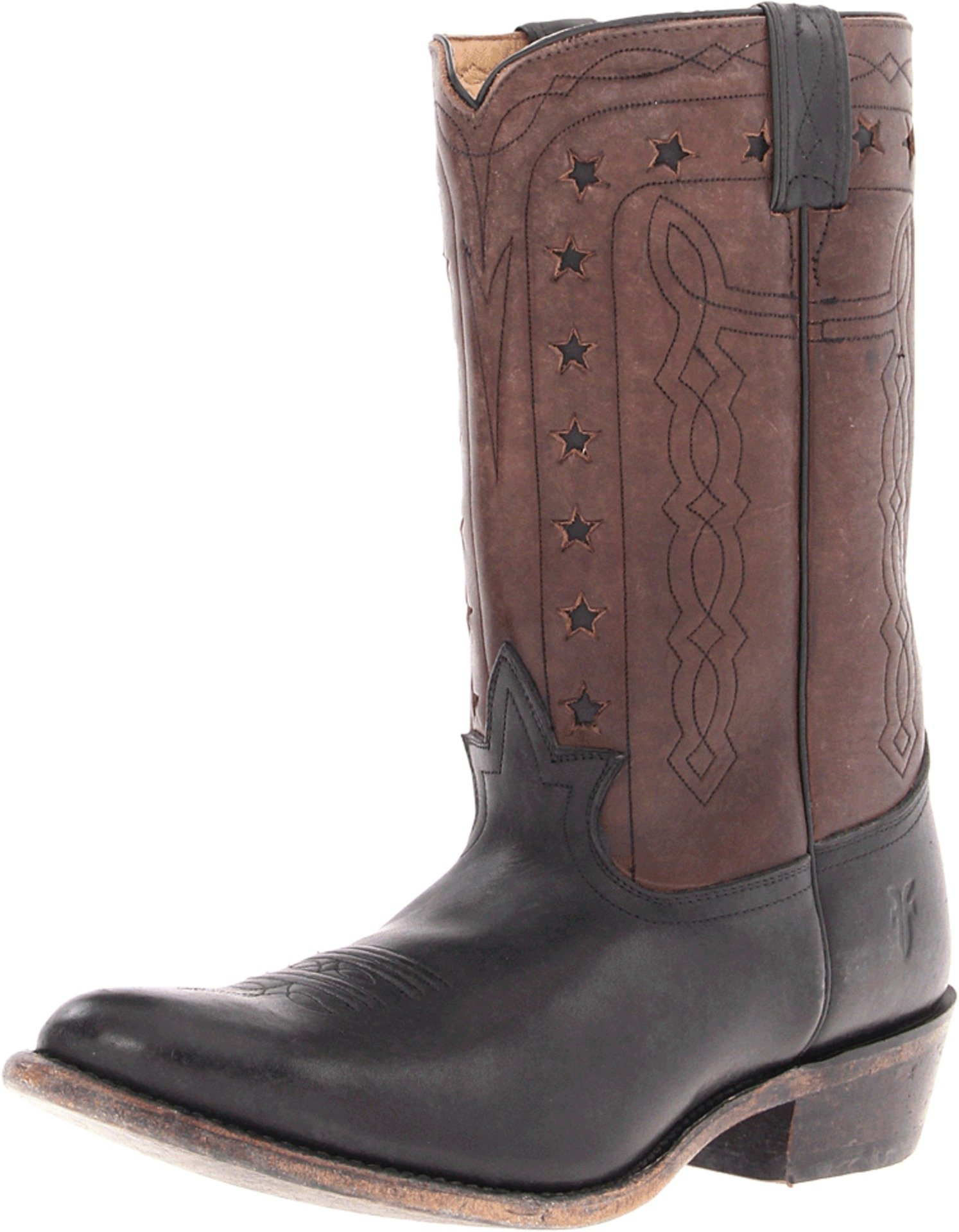 FRYE Men's Wyatt Americana Boot, Black Stone Antiqued, 7.5 M US