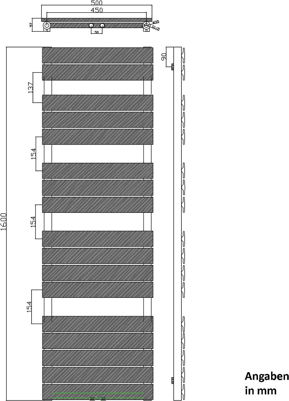 Sogood Design Badheizung 160x50cm Anthrazit Paneelheizk/örper Einlagig Horizontal Mittelanschluss Bad-Heizk/örper