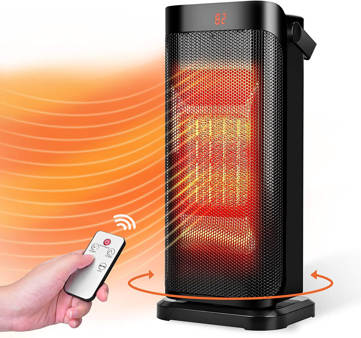 Trustech Space Heater - Fast Heating Ceramic Heater, Quiet Oscillating Heater w/Remote, Thermostat, 3 Modes, 12H Timer, Overheat & Tip-over Protection, Portable Electric Heater for Home Bedroom Office
