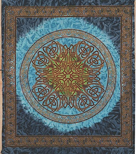 Handmade Cotton Celtic Circle Wheel of Life Batik Tapestry Coverlet Full Blue