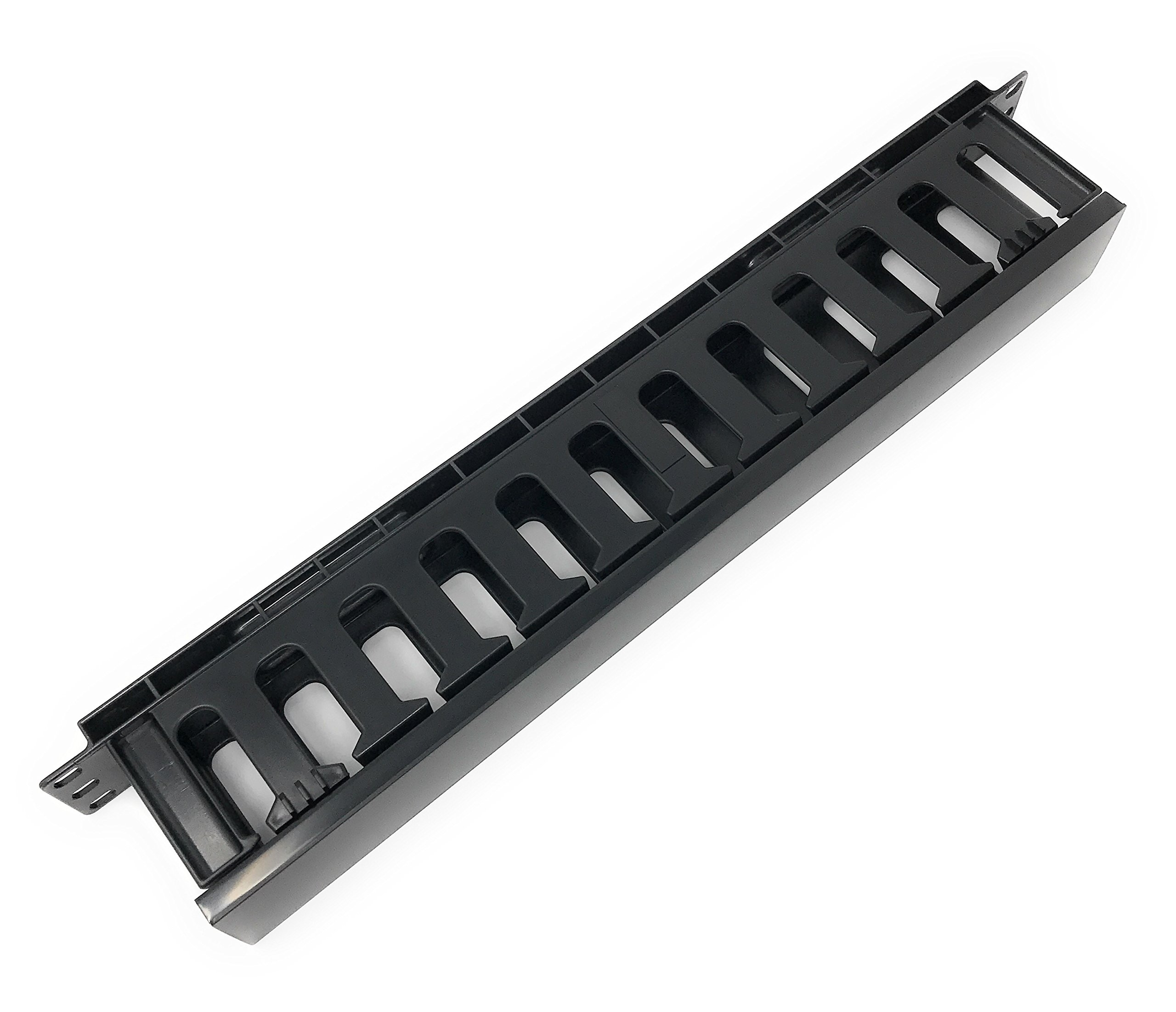 EnEdge 1U Rack Mount Horizontal Plastic Cable Management Tray with Cover - Finger Duct - 19''