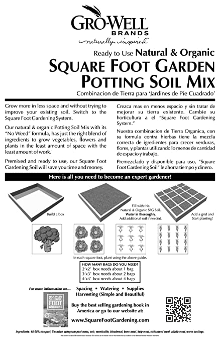 Amazon.com : Melu0027s Mix 33002 Potting Soil Mix For Square Foot Garden, 2  Cubic Feet, Bag Of 1 : Soil And Soil Amendments : Garden U0026 Outdoor
