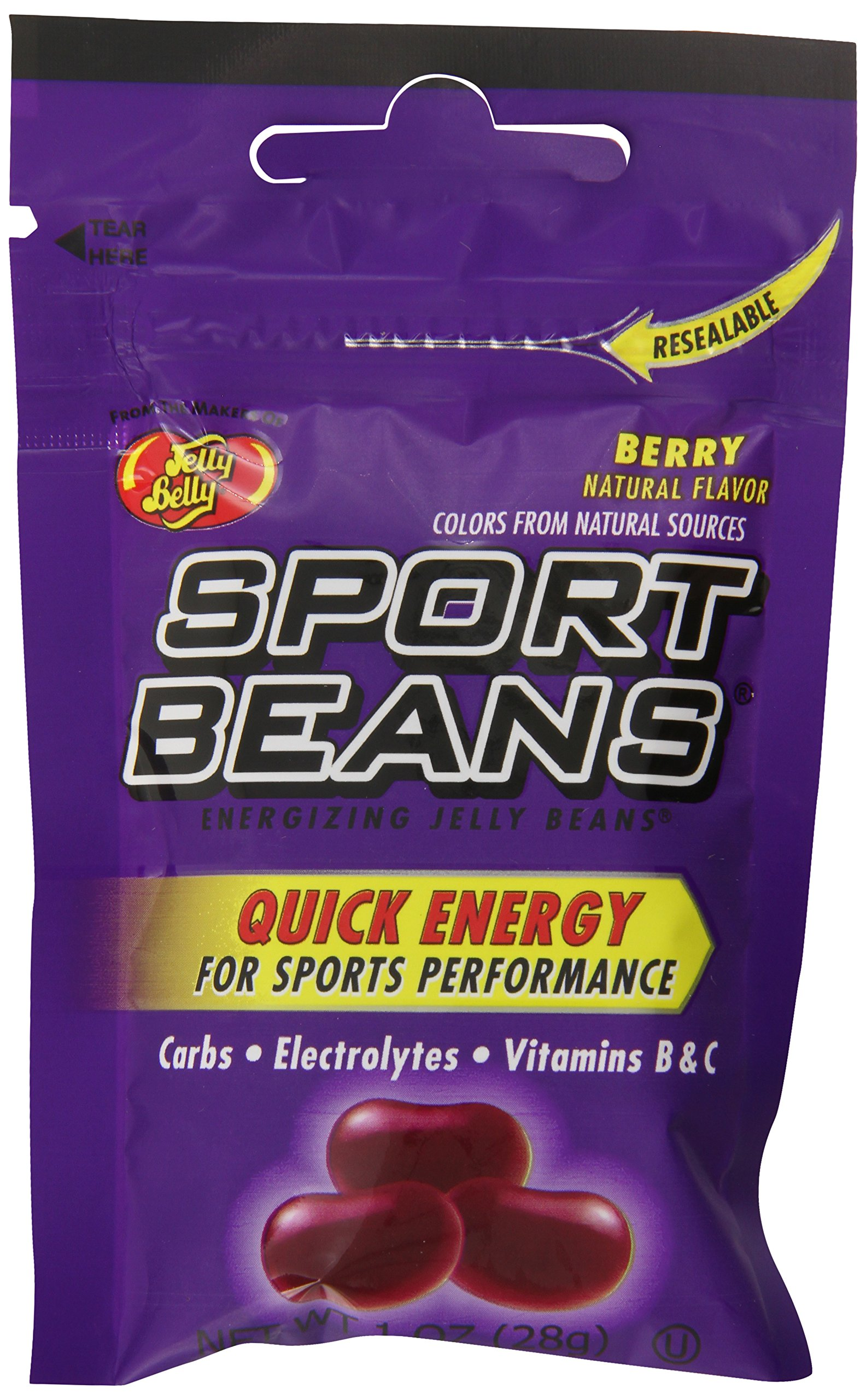 Jelly Belly Sport Beans, Berry Energizing Jelly Beans, 1-Ounce Bags (Pack of 24) by Jelly Belly