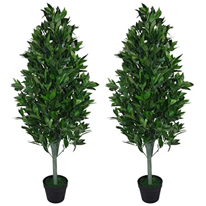 Pair Of 120cm 4ft Artificial Topiary Bay Trees Pyramid Cones