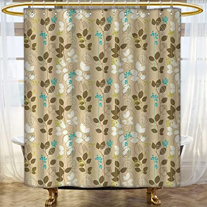 Anhounine Autumn Fabric Shower Curtains Retro Fall Leaves Earth Tones Foliage Field Gardening Yard Cottage Pattern
