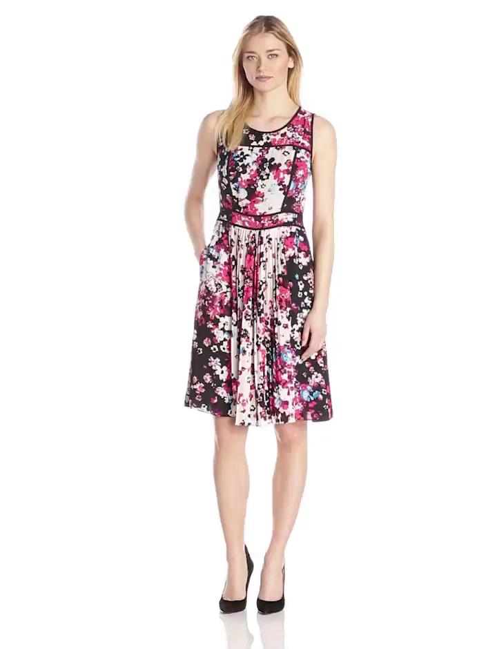 Adrianna Papell Women's Sleeveless Pleated Floral Print Dress, Khaki Multi, 8